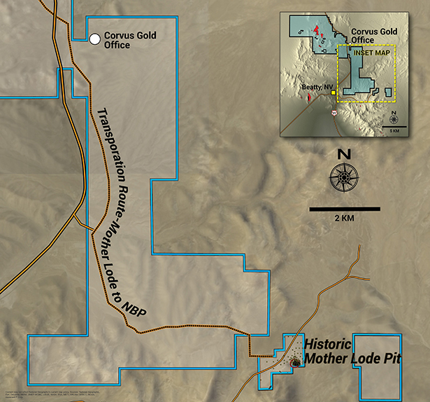 Corvus Gold's Mother Lode project property boundaries